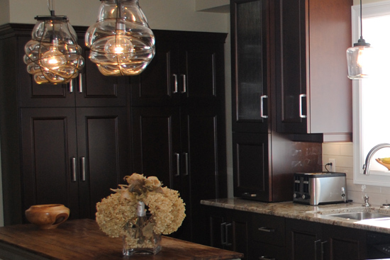 Kitchen with dark wood and island